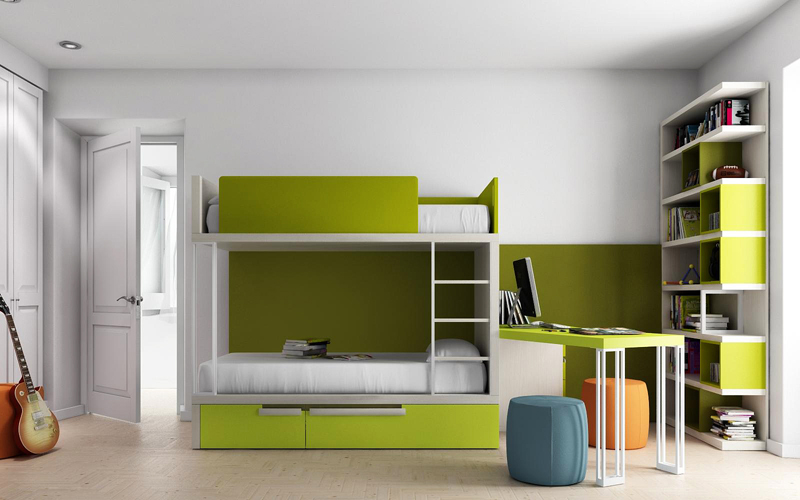 Dormitorio juvenil con litera kiona salamanca tienda for Litera mueble joven