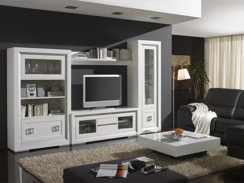 Muebles salon en blanco muebles salon en blanco saln modular blanco y cerezo more images of - Habitdesign muebles ...