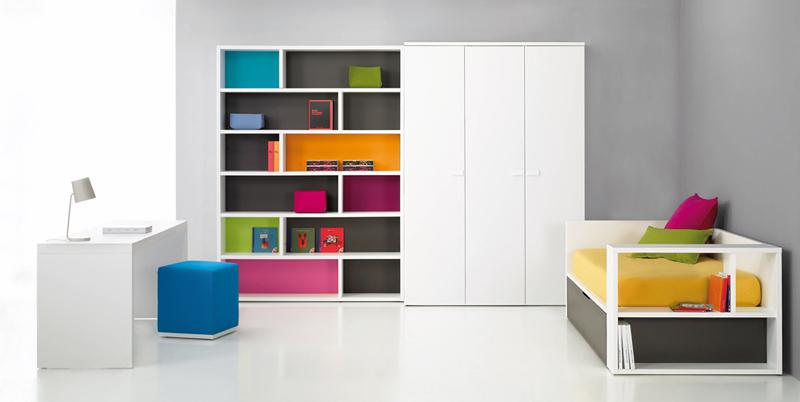 Dormitorio juvenil con estanteria kiona salamanca for Muebles de oficina salamanca