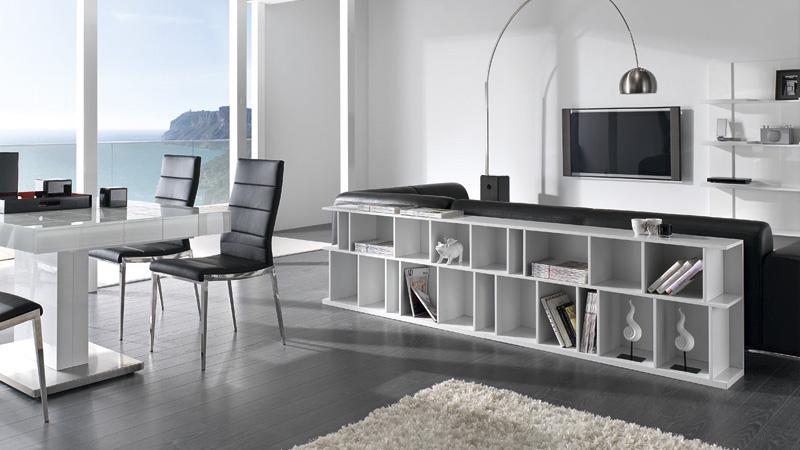 Estanter a baja para trasera de sof kiona salamanca for Librerias salon modernas