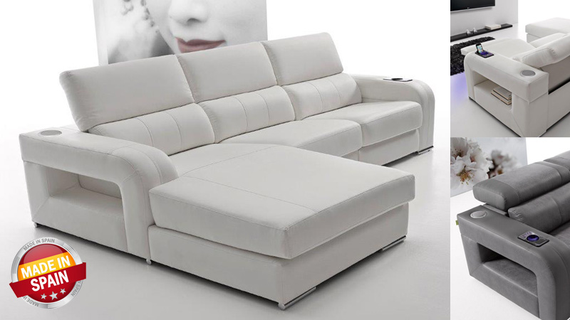 Sofa de 3 plazas y chaise longue con relax bianca kiona for Sofa tres plazas chaise longue