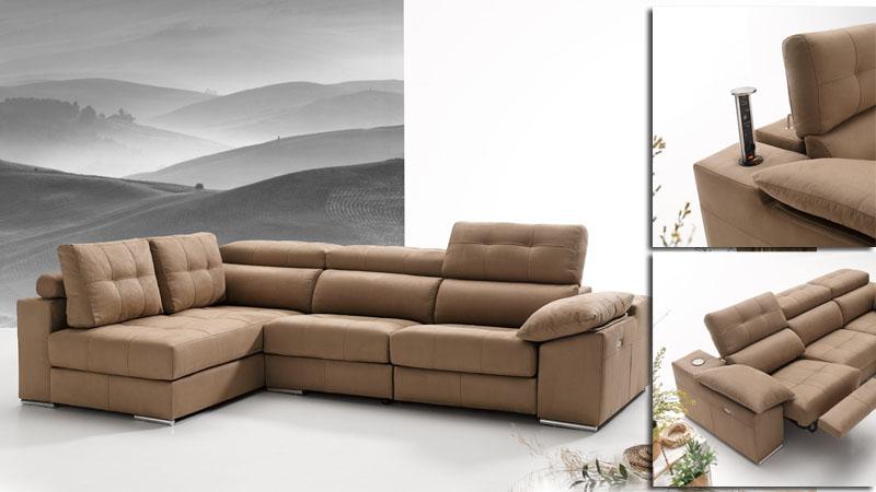 Sofa de 3 plazas y chaise longue con relax toscana kiona for Sofa 5 plazas chaise longue