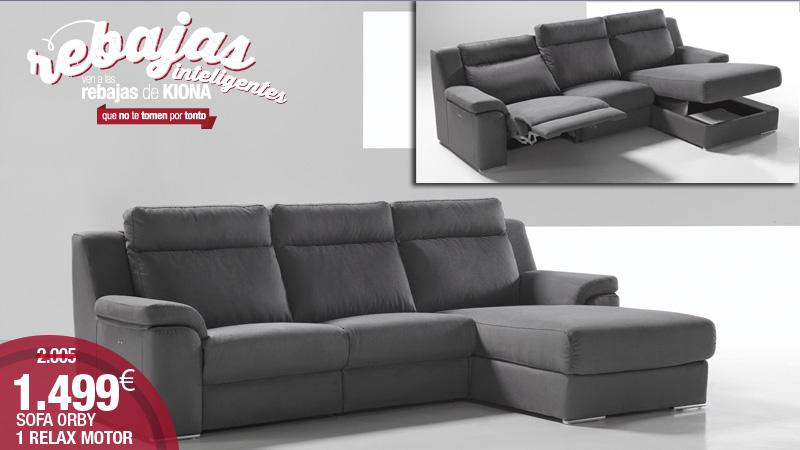 Sofa de 3 plazas y chaise longue con relax motor Kiona Salamanca